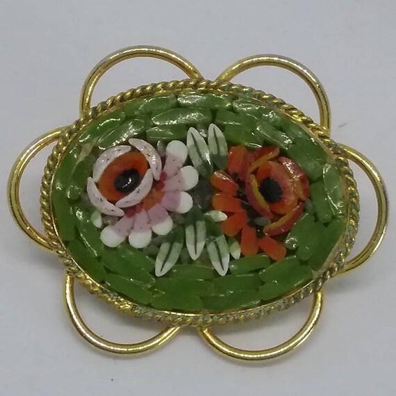 Vintage Micro Mosaic Brooch, Italian Glass