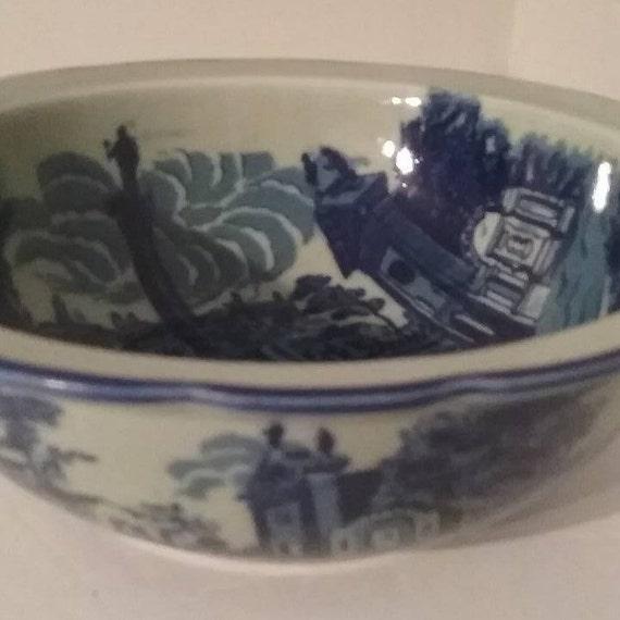 Victoria Ware Iron Stone Bowl, Vintage Victoria Ware Blue Iron Stone Bowl, Vintage Victoria Ware Bowl, Blue Victoria Ware Iron Stone Bowl