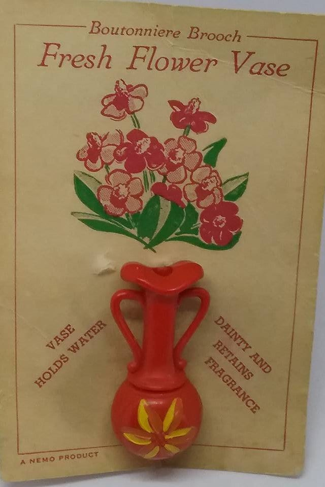 Vintage Boutonniere Pin Nemo Plastic Vase Pin Boutonniere Holds