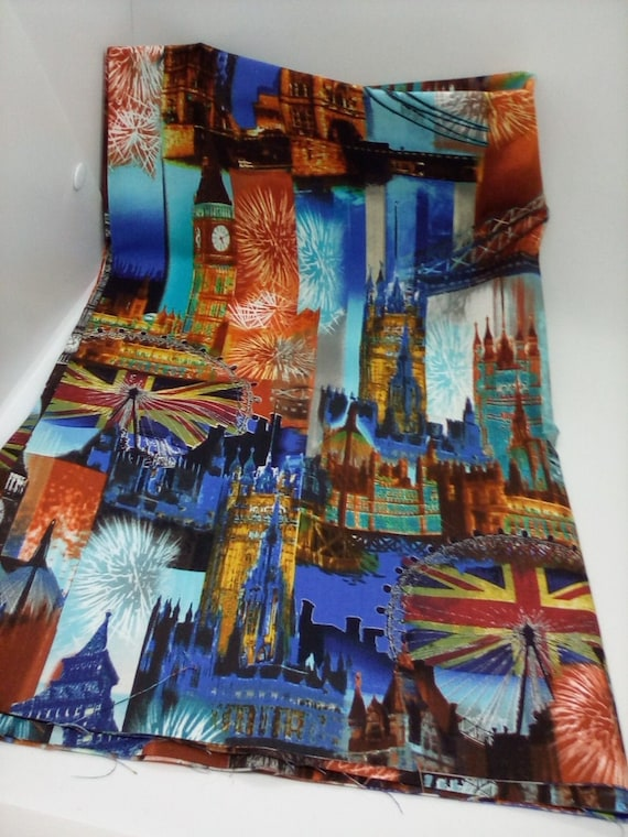 Cotton Novelty Fabric, London City Icons, 1 yard, Great Britain