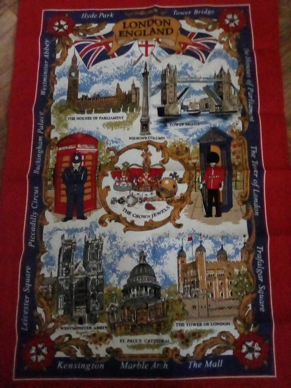 London England Cotton Linen Tea Towel, London Souvenir Tea Towel, London England Iconic Sites Towel