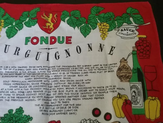 Vintage Linen Tea Towel, Fondue Recipe