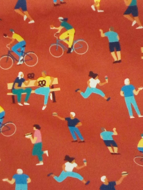 2 Yards Novelty Fabric, Cotton Food Truck Material, Fun Foodie Themed Fabric