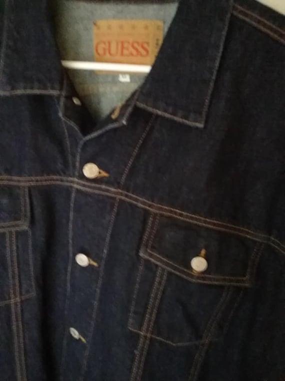Vintage Guess Denim Jacket, Dark Blue Jean, USA Made