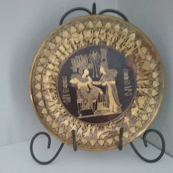 Egyptian Gold and Black Hand Engraved Plate, Egyptian Brass c/w Gold and Black Inlay, Vintage Egyptian Gold and Black Inlay Ornamental Plate