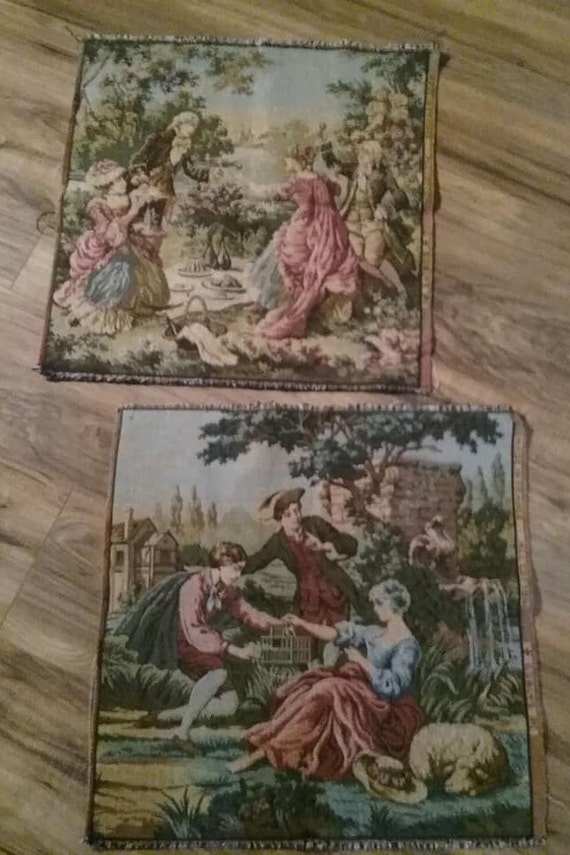 Vintage French Tapestry Panels, Two Remnant Pieces, French Garden Scenes