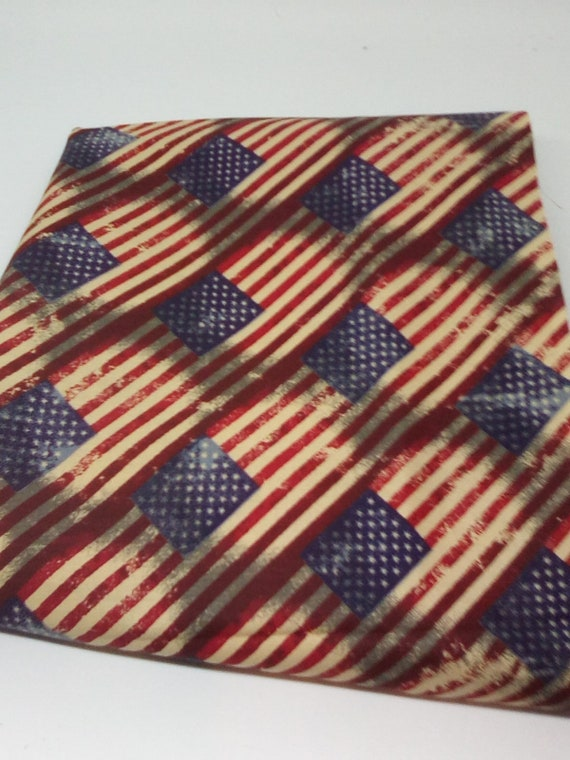 1 Yard American Flag Cotton Fabric, Antique Style Flag Print, 100% Cotton Novelty Fabric for Face Masks and Accessories