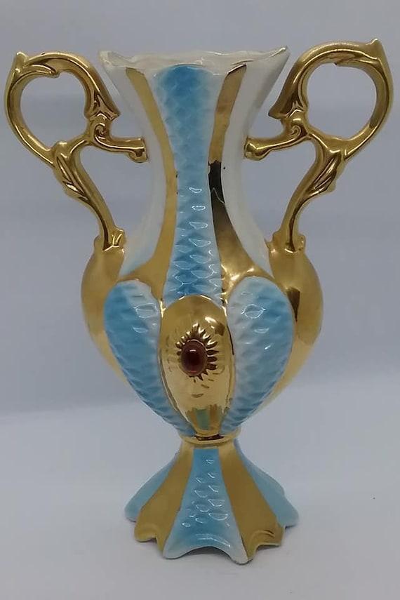 Italian Blue and Gold Vase, Le Palme Sesto F.