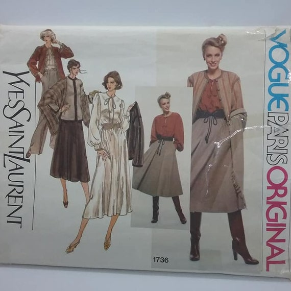 Vogue Sewing Pattern, Designer Yves St Laurent, Vogue Paris Oringal