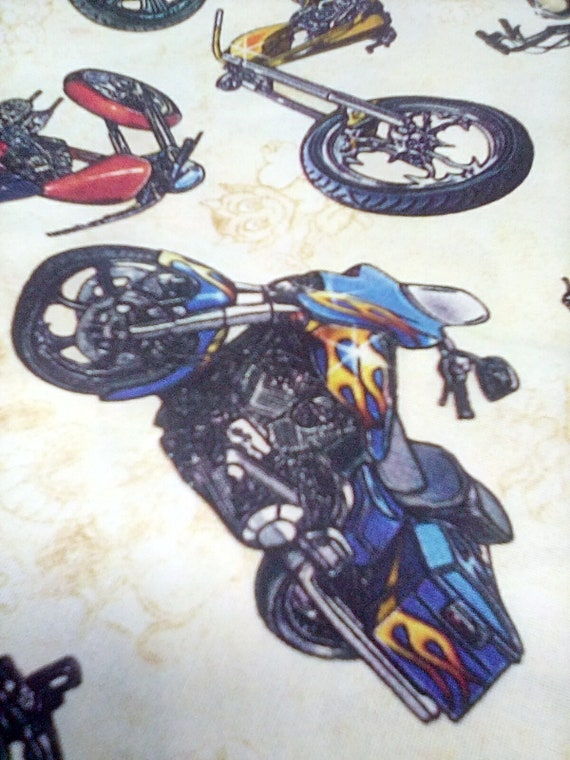 1 Yard Motorcycle Fabric, Motorcycle Toss Cotton Fabric, Easy Rider Material, Biker Fabric