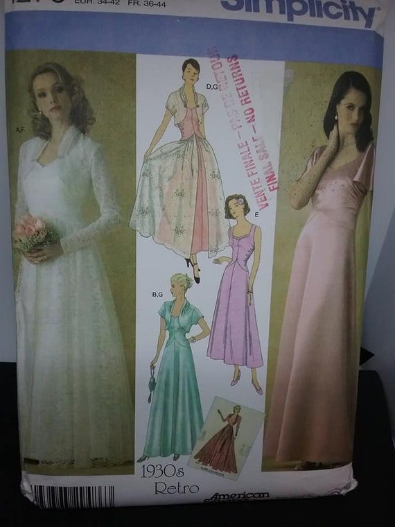 1930's Wedding Dress Sewing Pattern