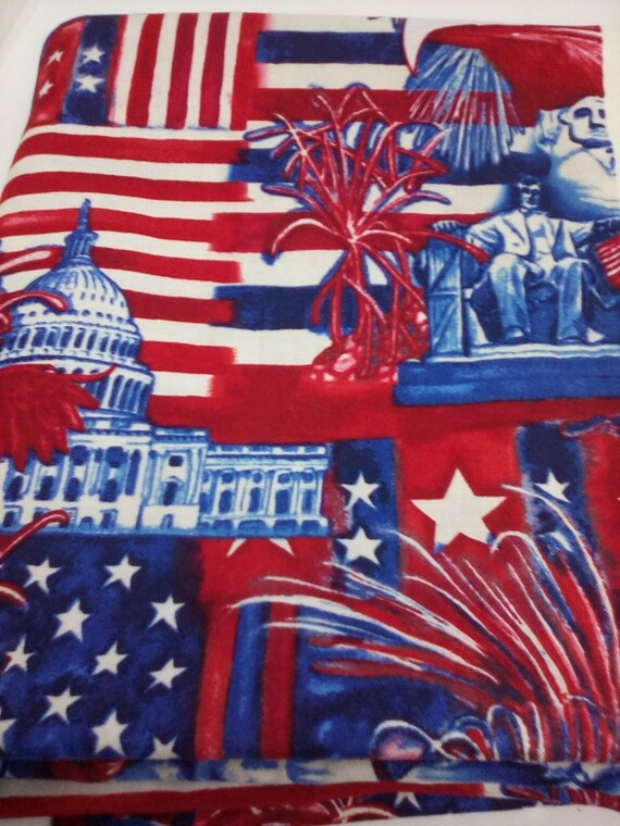 2 Yards American Pride Fabric, Cotton Novelty Fabric,  Patriotic Material