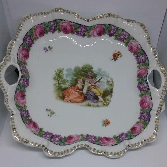 Vintage Prov Saxe E S Germany Dish, Vintage Erdmann Schlegelmilch German Porcelain Dish, Rare Vintage German E S Handled Dish, German Dish