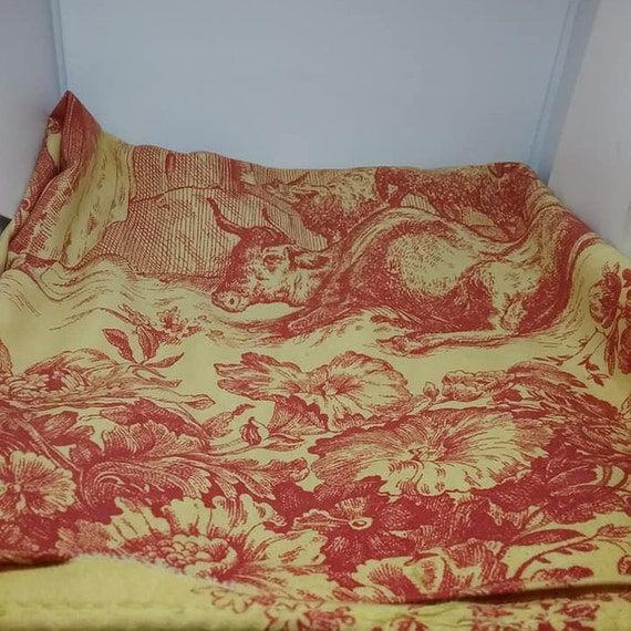 Toile Cushion Cover, Red and Yellow, Square