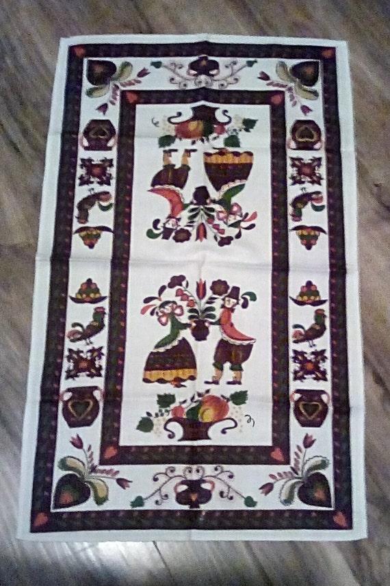 Vintage Folk Art Pennsylvania Dutch Cotton/linen tea towel, Folk Art Tulips and Heart Around Man and Woman