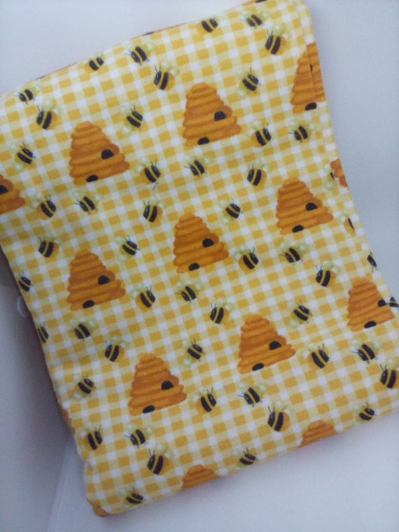 2 Yards 100% Cotton Flannel, Yellow Bees and Hives Fabric, Honeybee Print Fabric
