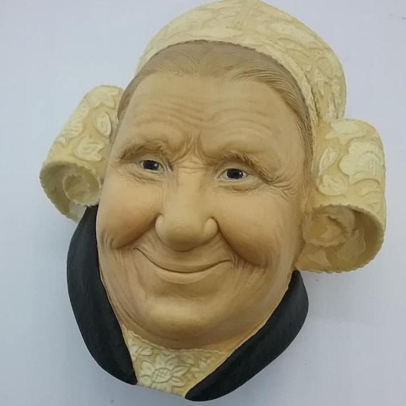 Bosson Head, Brettone Lady, Vintage Chalkware Bosson Head