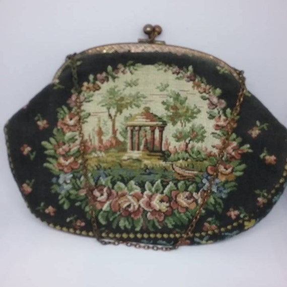 1930's Petite Point Tapestry Clutch,  1930's Small