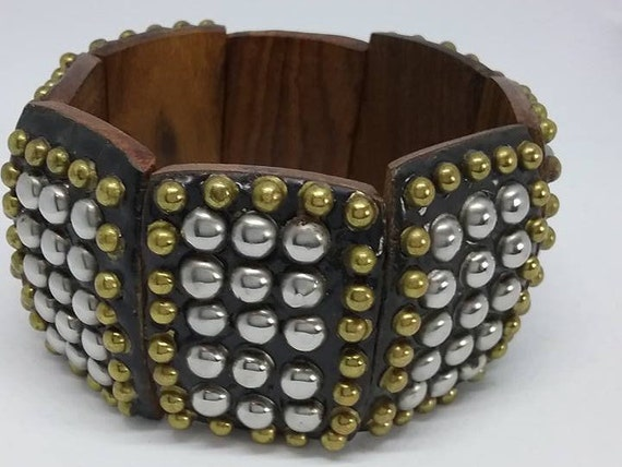 Vintage Wooden Studded Cuff, Stretch Bracelet