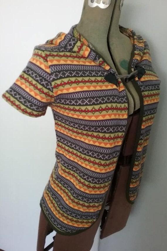 Vintage Boho Chic Sweater, 60/70s Sweater Vest Cardigan Hoodie, Vintage Women's Short Sleeve Cardigan Sweater, Aztec or Geometric Pattern