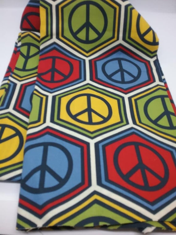 2 Yards Peace Sign Material, 70's Retro Fabric