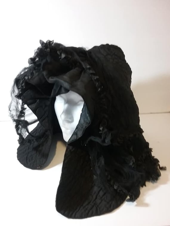 Antique Victorian Mourning Bonnet