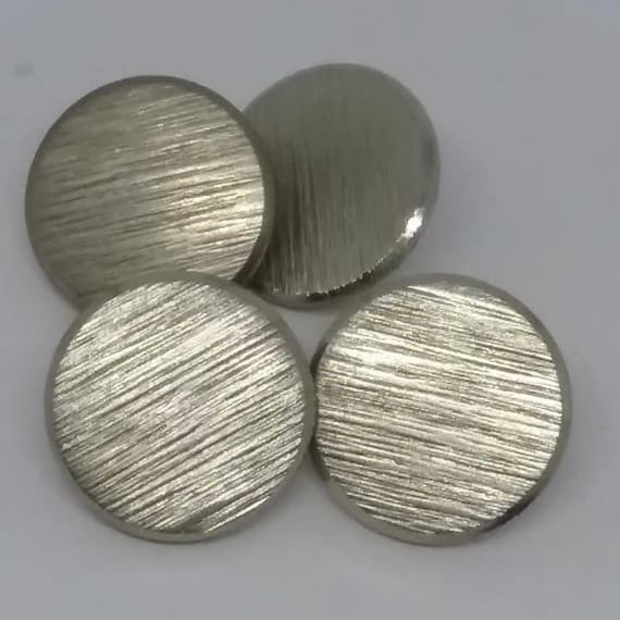 Vintage Faux Nickel Brushed Buttons, Set of 4
