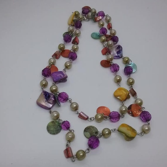 Mixed Bead and Gemstone Fruit Salad Style Necklace