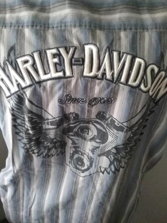 Vintage Harley Davidson Long Sleeve Shirt, Men's Harley Davidson Button Sports Shirt, Harley Davidson Casual Shirt, HD Motor with Wings