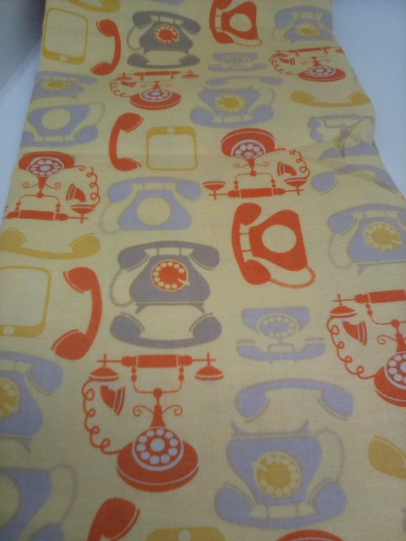 1 Meter of Novelty Cotton Fabric, Vintage Telephone Print Material, Office Decor, Face Masks