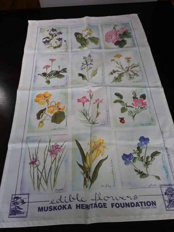 Floral Tea Towel, Edible Flowers Fabric Art, Made in Canada