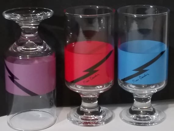 Pierre Cardin Drinking Glasses, Colored Pedestal Style