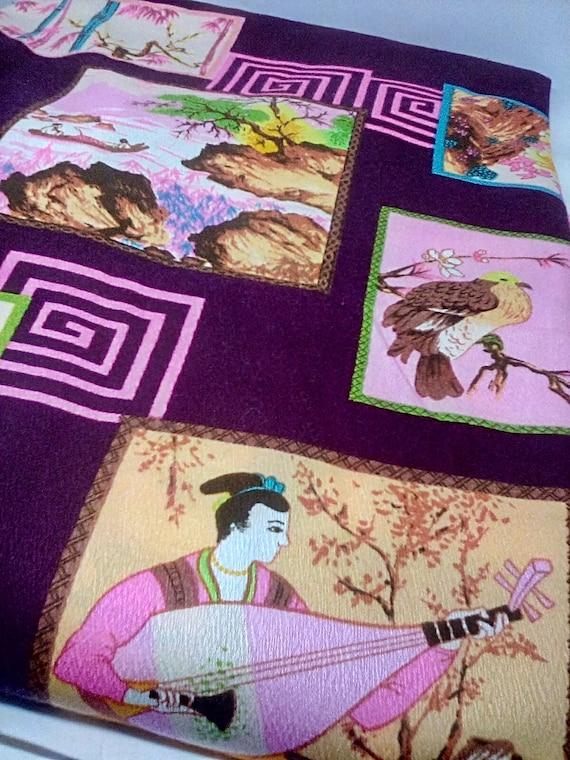5 Yards Oriental Print Fabric, Cotton/Poly Blend Design Print, Japanese Print Material