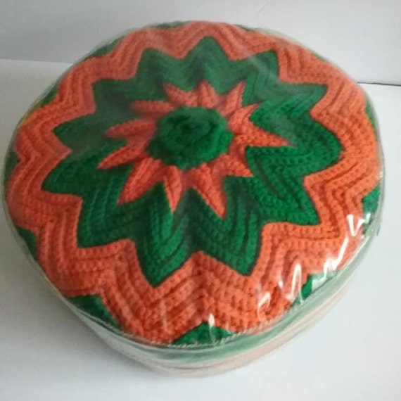 1960's Crocheted Green and Orange Pillow, Mid-century Mod