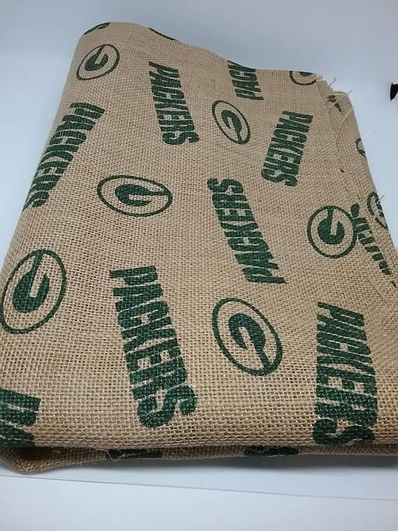 NFL Licensed Greenbay Packers Fabric, 1 Yard Burlap, Greenbay Packers Material