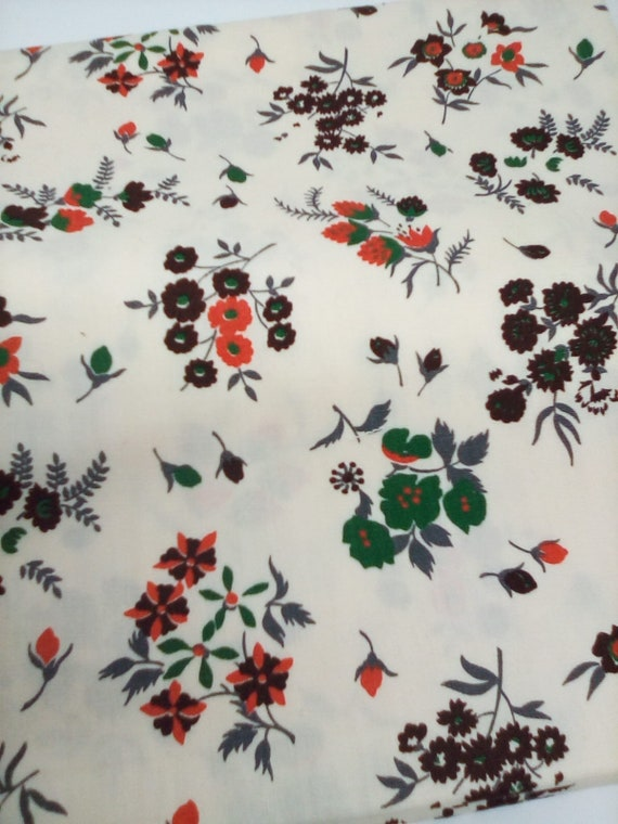 1  Yard Floral Cotton Fabric,Mid Century Modern Style Floral Cotton Material, Vintage Inspired Cotton Fabric