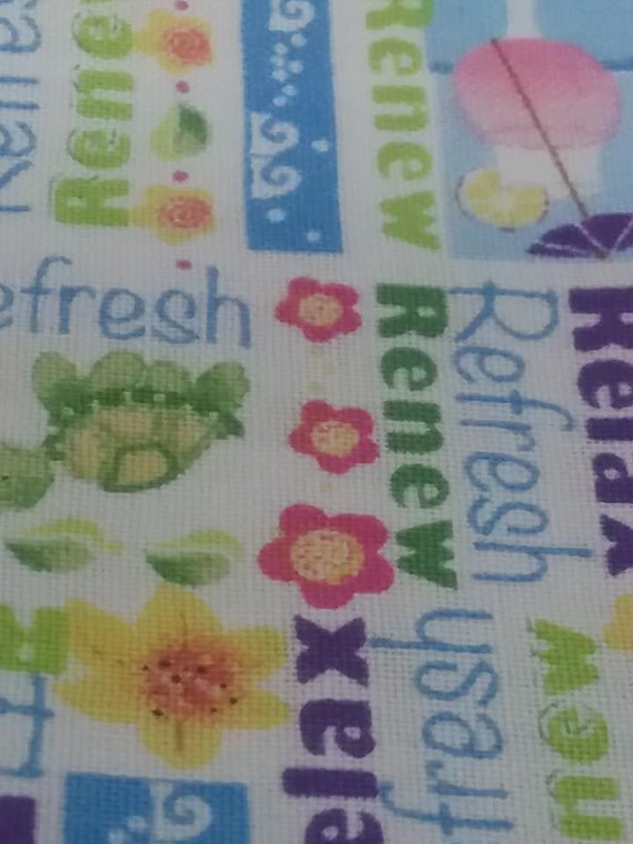 Summer Print Material, Words of Relax, Refresh, Renew Fabric, 3 Yards