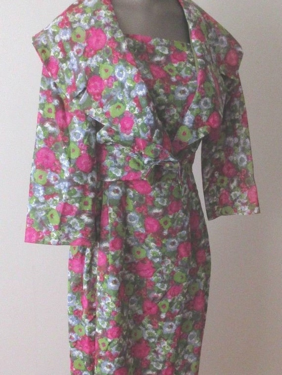 1950 Vogue Couturie Design Dress, Matching Floral Jacket