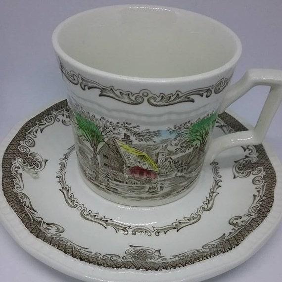Vintage Demitasse Set,  Ironstone Cups and Saucers, Staffordshire English Ironstone Cups and Saucers, Vintage Ironstone English Cups
