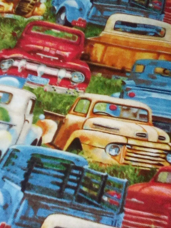 1 Yard Novelty Cotton Fabric, Vintage Trucks Packed,  Vintage Style Trucks Print