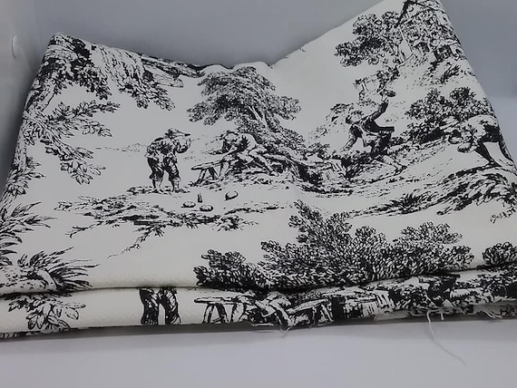 Black and White French Country Material,  Toile, 2 yards of Fabric,