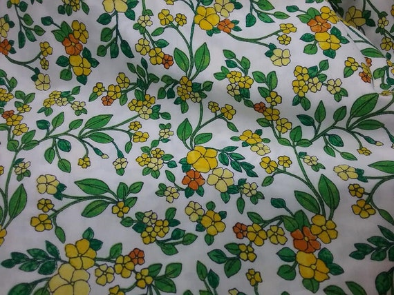 3 Yards Small Floral Print Material, Bright Fabric