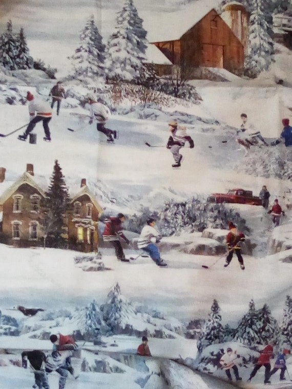 1 Yard Hometown Hockey Series, Cotton Fabric with Ice Hockey Theme, Old Time Outdoor Hockey, By Northcott Fabrics