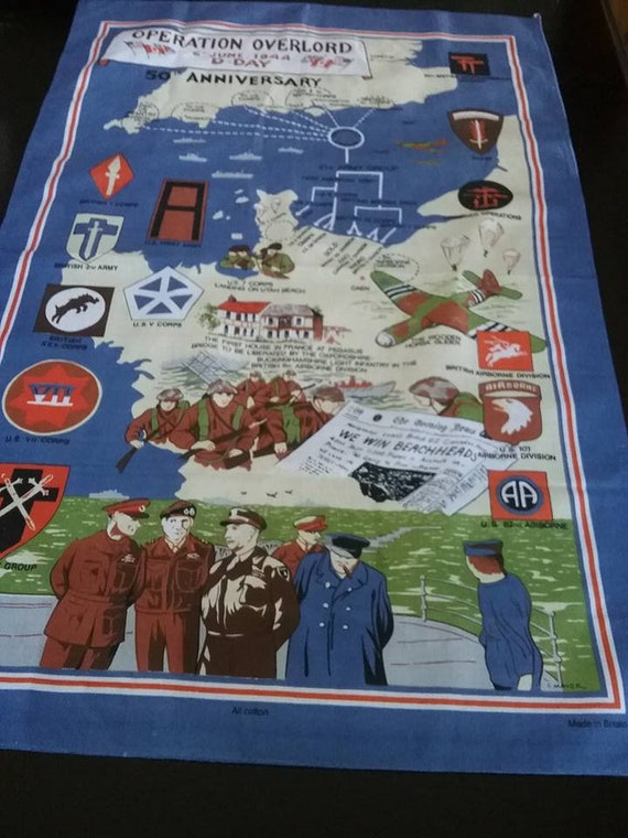 Retro WWII Cotton Tea Towel, Churchill British Fabric Poster