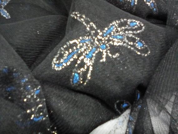 2 Yards Black Mesh, Sparkle Printed Mesh Dragonflies, Dragonflies on Polyester Black Mesh