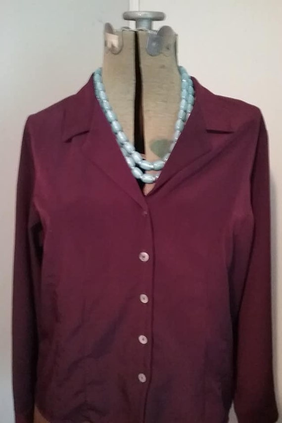 Women's Vintage Polyester Blouse, Aubergine, Long Sleeve