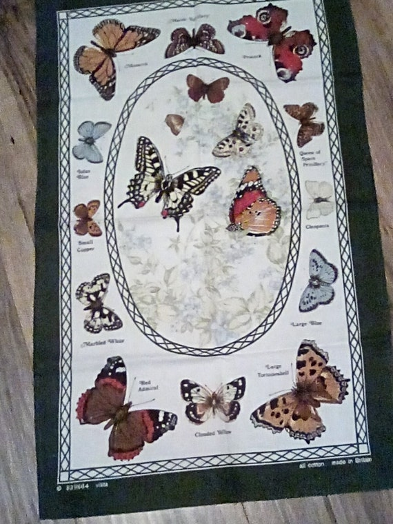 Cotton Butterfly Tea Towel, British Butterfly Types, Cotton Fabric Butterfly Poster