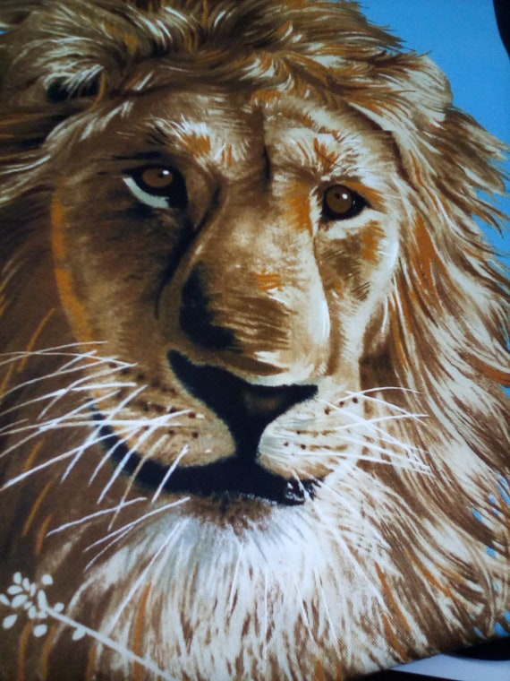 Cotton Fabric Panel, Lion Print Fabric Panel, Double Panel, Sewing Project Panel, Wildlife Enthusiast Quilting Panel