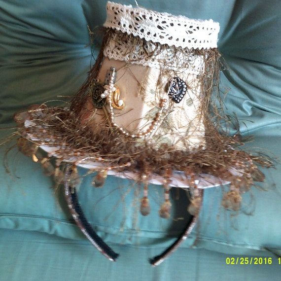 Women's Steampunk Fascinator,  Mini-Top Hat,