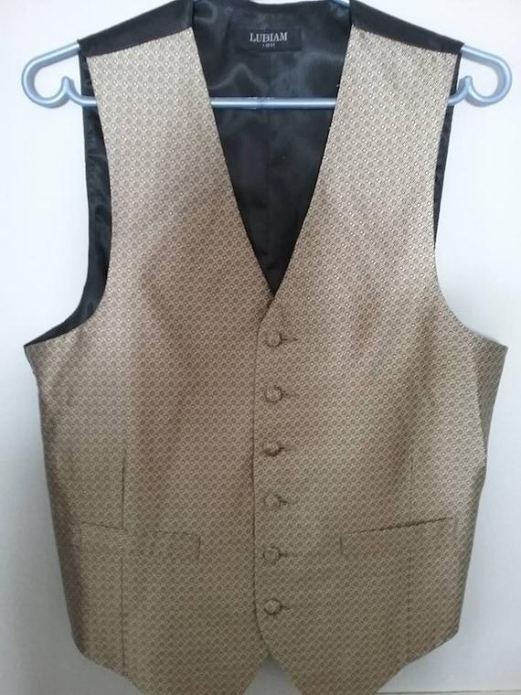 Men's Vintage Beige/Gold Silk Vest, Steampunk Gentlemen's Waistcoat,